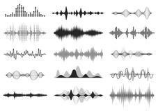 Onde sonore nere Audio frequenza di musica, linea forma d'onda, segnale radio elettronico, simbolo di voce del livello del volume illustrazione di stock