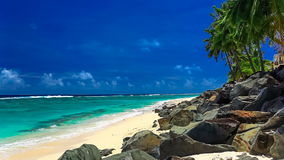 Onde su una spiaggia tropicale abbandonata, cuoco Islands archivi video