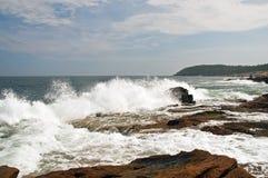 Onde sul litorale della Maine Immagine Stock