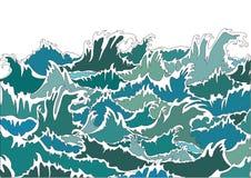 Onde verdi della tempesta dell'oceano Immagini Stock Libere da Diritti