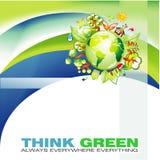 Onde verdi e priorità bassa astratta del globo Immagini Stock