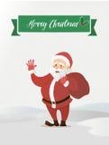 Ondeggiamento del Babbo Natale Ha portato la borsa con i regali Illustrazione di vettore di uno stile piano Immagine Stock