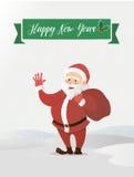 Ondeggiamento del Babbo Natale Ha portato la borsa con i regali Illustrazione di vettore di uno stile piano Fotografie Stock Libere da Diritti