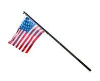 Ondeggiamento della bandiera americana isolato su fondo bianco Fotografia Stock Libera da Diritti