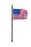 Ondeggiamento della bandiera americana isolato su fondo bianco Fotografia Stock