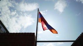Ondeggiamento della bandiera dell'Armenia stock footage