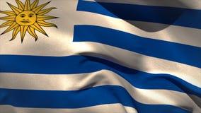 Ondeggiamento della bandiera dell'Uruguai generato Digital illustrazione di stock
