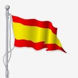 Ondeggiamento della bandiera della Spagna Fotografia Stock