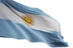 Ondeggiamento della bandiera nazionale dell'Argentina isolato sull'illustrazione bianca del fondo 3d illustrazione di stock
