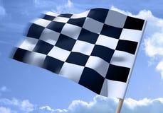 Ondeggiamento della bandierina checkered fotografie stock libere da diritti