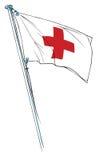Ondeggiamento della bandierina della croce rossa Immagine Stock