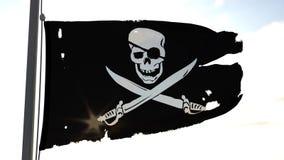 Ondeggiamento della bandierina di pirata stock footage