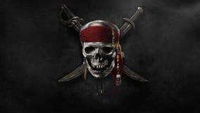 Ondeggiamento della bandierina di pirata illustrazione di stock