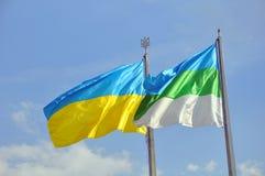 Ondeggiamento delle bandiere della città di Rivne e dell'Ucraina fotografia stock