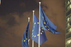 Ondeggiamento delle bandiere di Unione Europea fotografie stock libere da diritti