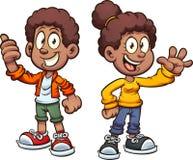 Ondeggiamento nero felice dei bambini del fumetto illustrazione vettoriale