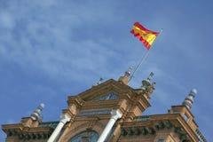 Ondeggiamento spagnolo della bandierina Fotografia Stock