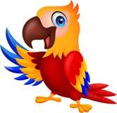 Ondeggiamento sveglio del fumetto dell'uccello dell'ara illustrazione vettoriale