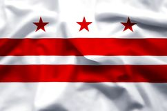 Ondeggiamento variopinto di DC di Washington ed illustrazione della bandiera del primo piano illustrazione vettoriale