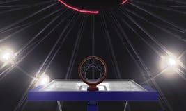 Onder basketbal 3d geeft de hoepel terug vector illustratie