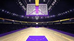 Onder basketbalhoepel op basketbalhof Stock Foto's