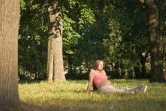 Onder de bomen royalty-vrije stock fotografie
