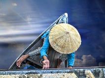 Onder de brug, Hoi An, Vietnam Stock Foto's