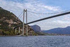Onder de Lysefjord-Brug, bootperspectief Royalty-vrije Stock Foto