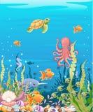 onder de overzeese achtergrond Marine Life Landscape - de oceaan en onderwaterwereld met verschillende inwoners Voor druk, crea stock illustratie