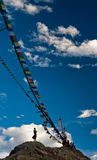 Onder de vlaggen Stock Foto's