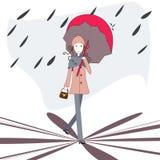 Onder een paraplu stock illustratie