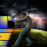 Onder het onweer stock illustratie