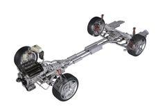 Onder vervoer het technische 3D teruggeven, van een sedan eigentijdse auto. vector illustratie