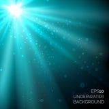 Onder water blauwe diepe oceaan vectorachtergrond met bellen en zonneschijnstralen vector illustratie