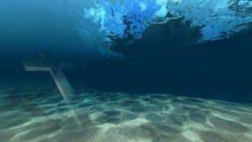 Onder waterkruis Stock Afbeeldingen