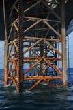 Onderaan Jack Up Drilling Rig In de Oceaan Stock Foto's