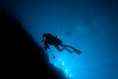 Onderaan mening van een onderwaterfotograaf Royalty-vrije Stock Afbeelding