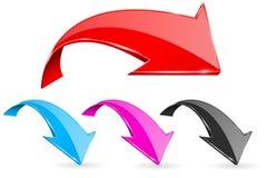 ONDERAAN neiging gekleurde pijlen Web 3d glanzende pictogrammen royalty-vrije illustratie