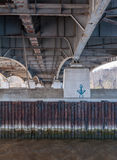 Onderaan Theodore Roosevelt Bridge over de Potomac Rivier Stock Foto