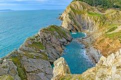 Onderaan van de klip bij Lulworth-Inham, Dorset stock foto's