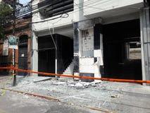 Onderbroken winkels in avenida Medellin tijdens de aardbeving van Mexico-City Royalty-vrije Stock Foto's