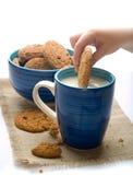 Onderdompelend koekje op mok melk royalty-vrije stock afbeelding