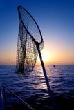 Onderdompeling netto in boot die op zonsopgangzoutwater vist Stock Foto