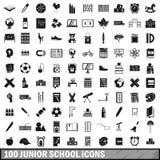 100 ondergeschikte geplaatste schoolpictogrammen, eenvoudige stijl Royalty-vrije Stock Fotografie