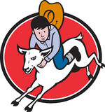 Ondergeschikte het Berijden van de Cowboy van de Rodeo Schapen Royalty-vrije Stock Fotografie