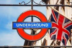 Ondergronds embleem in Londen Stock Afbeeldingen