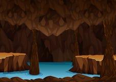 Ondergronds hol met water Stock Foto
