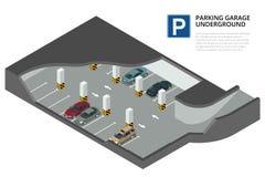 Ondergronds parkeren met auto's Binnenparkeerterrein De stedelijke dienst van het autoparkeren Royalty-vrije Stock Foto's