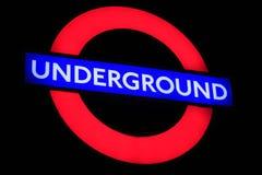 Ondergronds teken bij nacht Stock Afbeelding