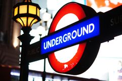Ondergronds teken in Londen Stock Foto